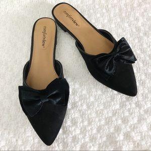 Black Velvet Point Toe Flats with Bow